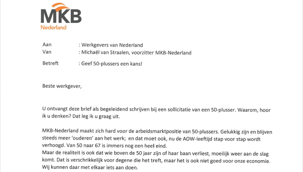 Oproep MKB Nederland, geef 50plussers een kans!   WinWinWerkt